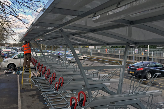 Southwest Trains Cycle Shelter Installation